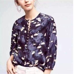 Anthro Maeve Bethesda Swan Print Flannel Shirt